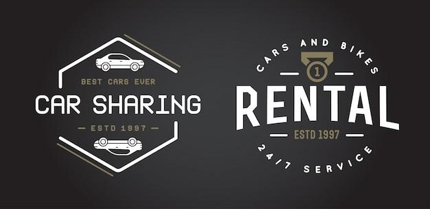 レンタカーサービス要素はロゴまたはアイコンとしてプレミアム品質で使用できます Premiumベクター