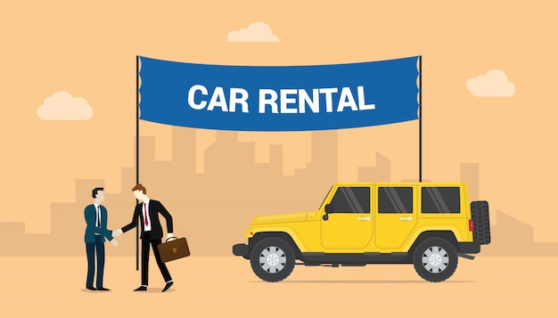 Car Rentals With Two Men Deals Share Rentals Cars With City Background With Modern Flat Style Premium Vector