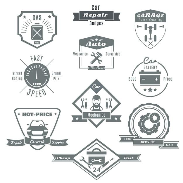 Ремонт автомобилей черная эмблема Бесплатные векторы