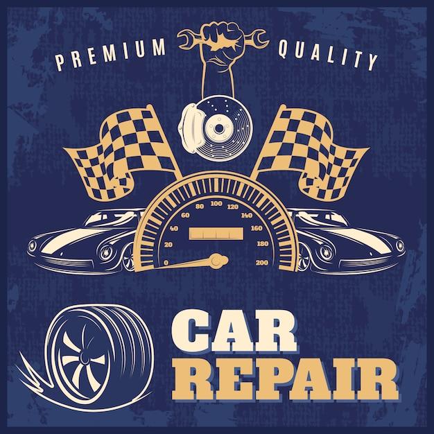 Car repair blue retro illustration with headlines premium quality and car repair vector Free Vector