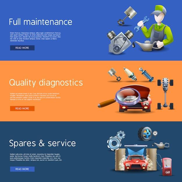 Car repair cartoon banners set Free Vector
