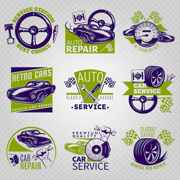 Car repair in color emblem set on service station best choice and different slogans vector illustration Free Vector
