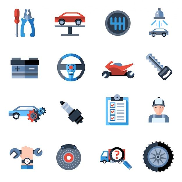 Иконки для ремонта автомобилей Бесплатные векторы