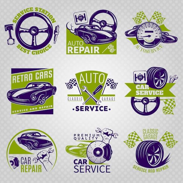 サービスステーションの最良の選択と異なるスローガンのベクトル図に設定された色のエンブレムの車の修理 無料ベクター