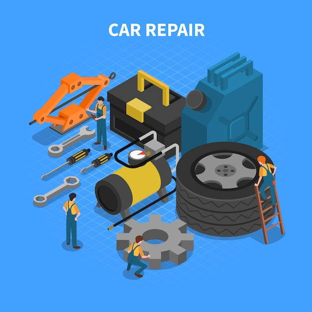 Car repair tools isometric concept Free Vector