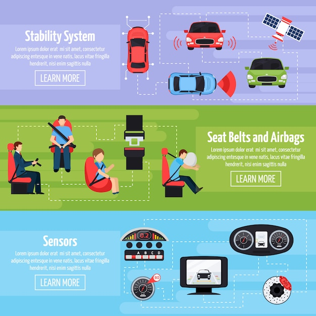 Car safety systems horizontal banners Free Vector