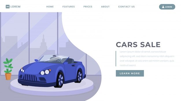 Car sale landing page vector template Premium Vector