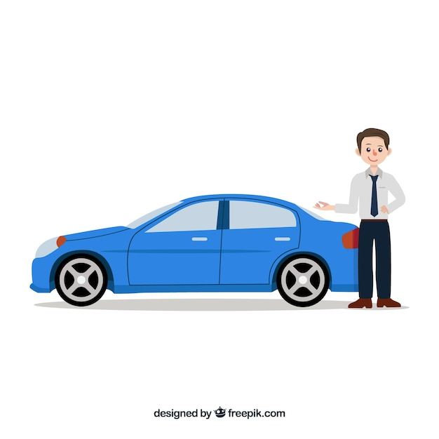 Car salesman composition with flat design Free Vector