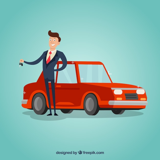 Car salesman concept Free Vector
