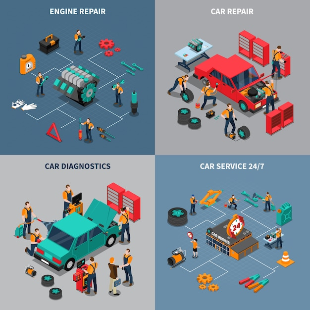Car service 4 isometric icons square Free Vector