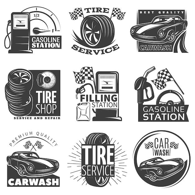 Car service black emblem set with descriptions of tire service car wash gas station vector illustration Free Vector