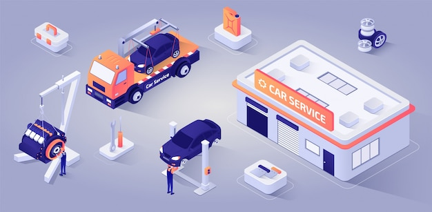 Car service building with mechanics at work vector Premium Vector