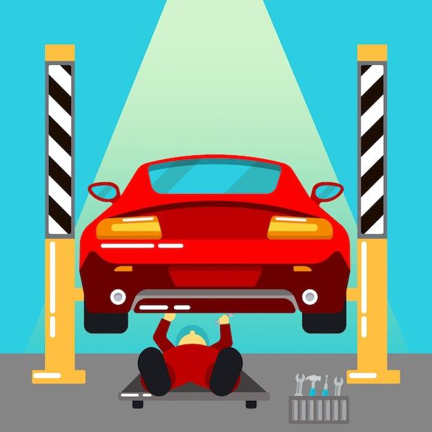 カーサービス。車の修理と診断自動メンテナンス。勤務中の軍人。ベクトルイラスト Premiumベクター