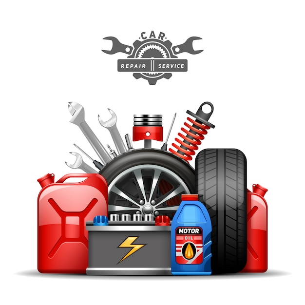 Car service center advertisement composition poster with wheels tires oil and gas canister  Free Vector