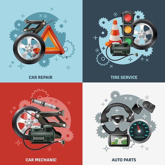 Car service concept icons set Free Vector