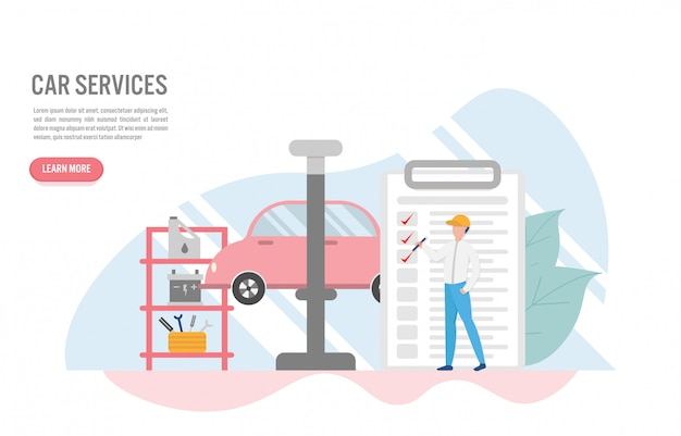 Car service concept with character in flat design Premium Vector
