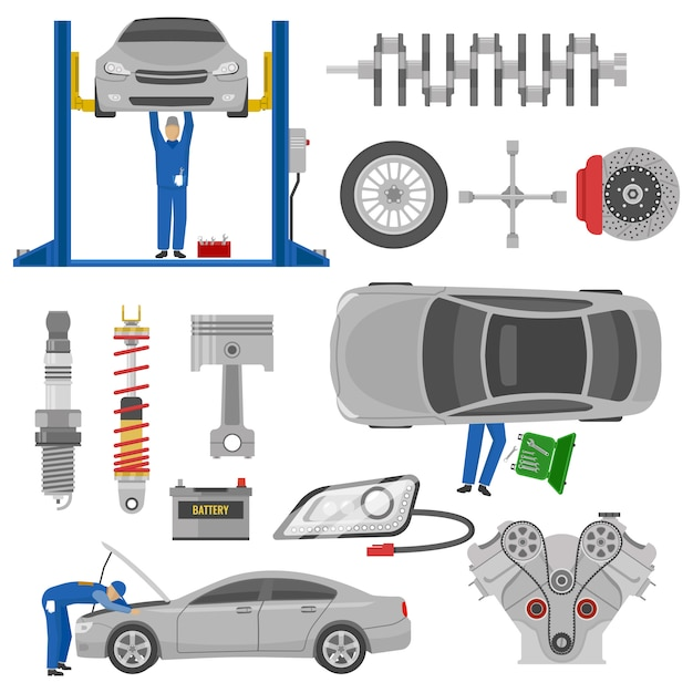 Car service decorative elements set with working mechanics auto spare parts hoist tools isolated Free Vector