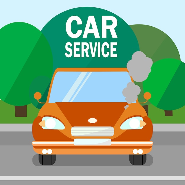 Car service, engine maintenance banner Premium Vector
