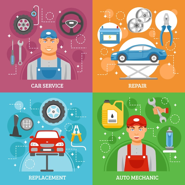 Car service flat icons square banner Free Vector