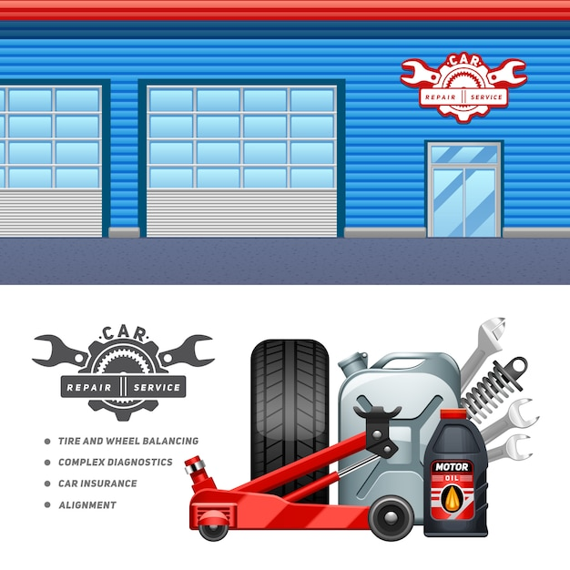 Car service garage 2 horizontal banners composition advertisement poster Free Vector