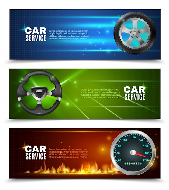 Car service horizontal banners Free Vector