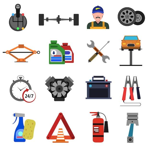 Car service icons flat set Free Vector