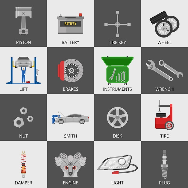 Car service icons set with repairmen auto details instruments Free Vector