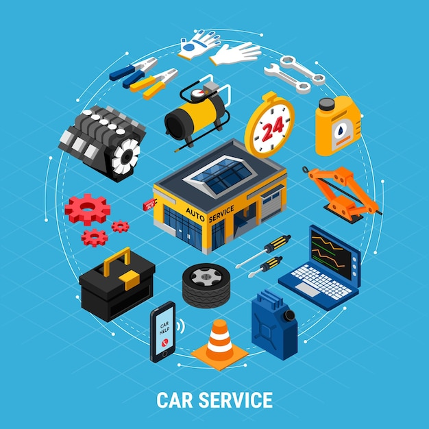Car service isometric concept with professional help symbols Free Vector