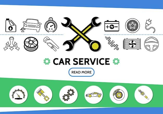 Icone di linea di servizio auto impostate con radiatore di trasmissione di chiavi a batteria del tachimetro di pneumatici per automobili dell'olio Vettore gratuito