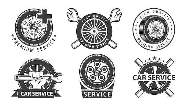 Автосервис логотипов с колесами. Premium векторы