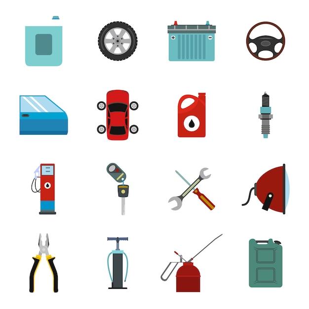 Car service maintenance flat elements set Premium Vector