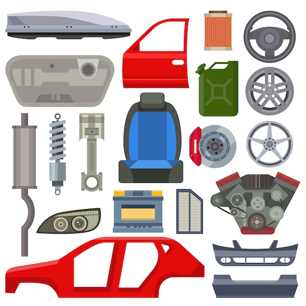 Car service parts mechanic repair flat vector illustration Premium Vector