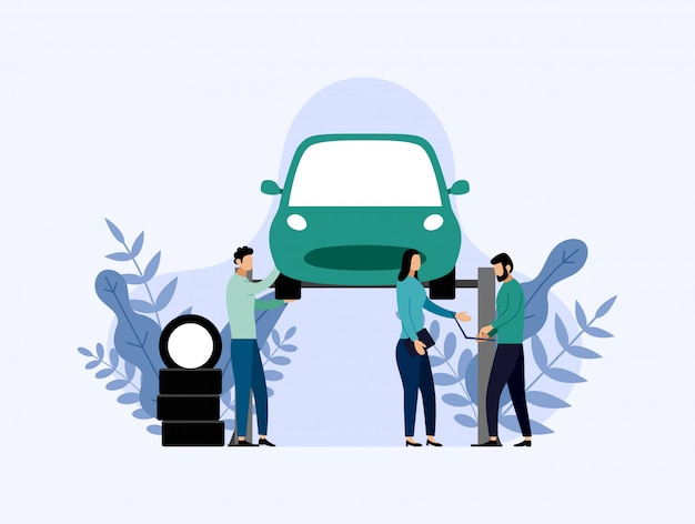 Car service and repair, workers fixing car, business illustration Premium Vector