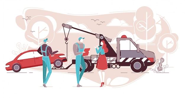 Car service, roadside assistance, transportation. Premium Vector