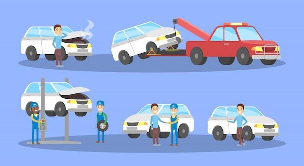 Набор автосервисов. механики ремонтируют сломанный белый автомобиль и меняют шину в гараже. диагностика и ремонт двигателя. иллюстрация Premium векторы