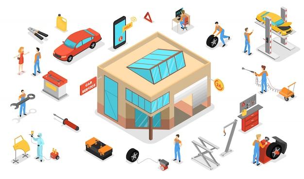 Car service set. people repair car using professional tool. mechanic in uniform fix engine. automobile diagnostic in workshop.   isometric illustration Premium Vector