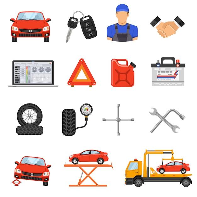 Car service set vector icons Premium Vector