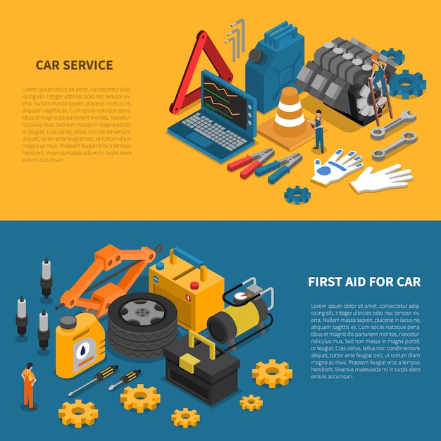 Car service tools isometric banner set Free Vector