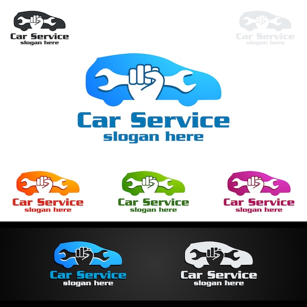 Car service vector logo design Premium Vector