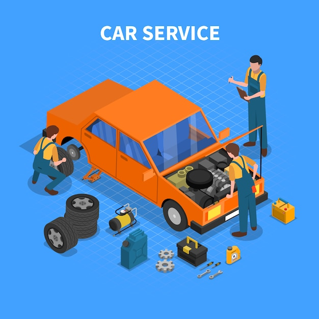 Car service work process isometric Free Vector