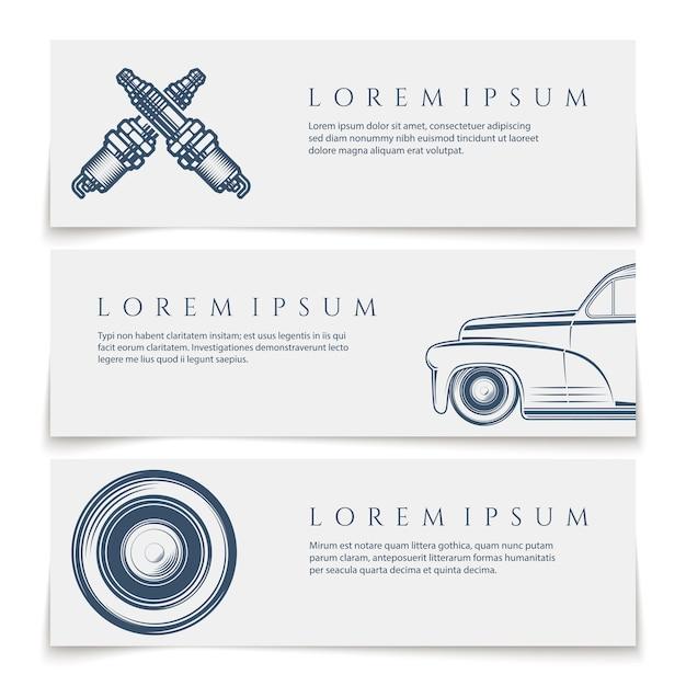 Баннеры автомобильных услуг, логотипы, на белом фоне. иллюстрация Premium векторы