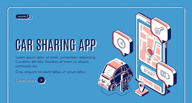 Car sharing app service isometric landing page Free Vector