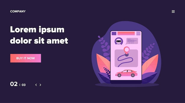 Car sharing app. smartphone app interface with map and vehicle   illustration. city transport, transportation, urban traffic concept for banner, website  or landing web page Premium Vector