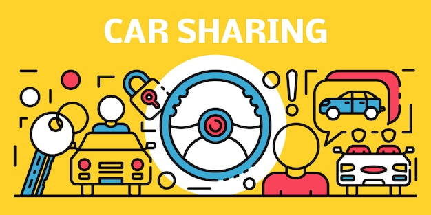 Car sharing banner, outline style Premium Vector