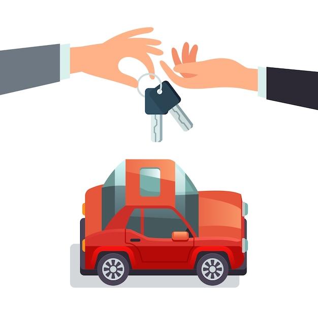 カーシェアリングのコンセプト車のキーを与える手 Premiumベクター