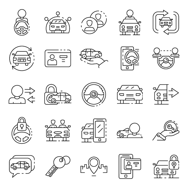 Car sharing icons set, outline style Premium Vector