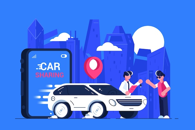Car sharing service advertising. mobile city transportation. transport renting. Premium Vector