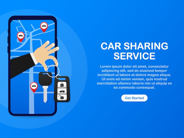 Car Sharing Service Advertising Web Page Template Banner Of Rent Auto Service Trading Cars And Rental Cars Web Site Advertising Like Hand And Key Premium Vector