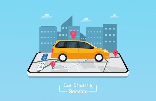 Приложение для каршеринга на мобильном телефоне с gps-навигацией. Premium векторы