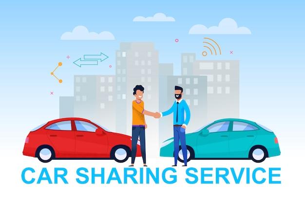 Car sharing service banner. vehicle handover. Premium Vector